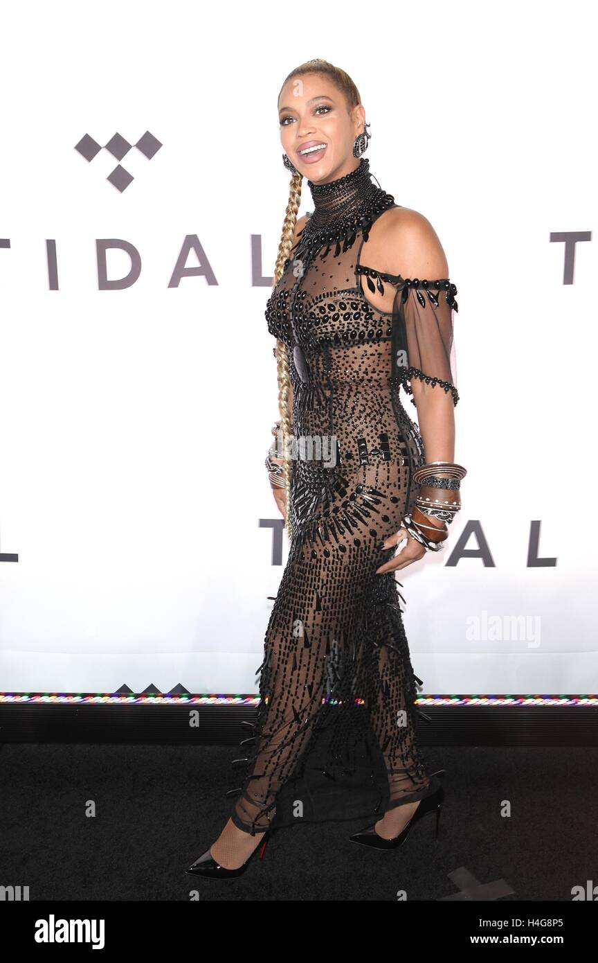 New York, NY, USA. 15th Oct, 2016. Beyonce attends TIDAL's Second Annual Philanthropic Festival, TIDAL X: 1015 - Stock Image