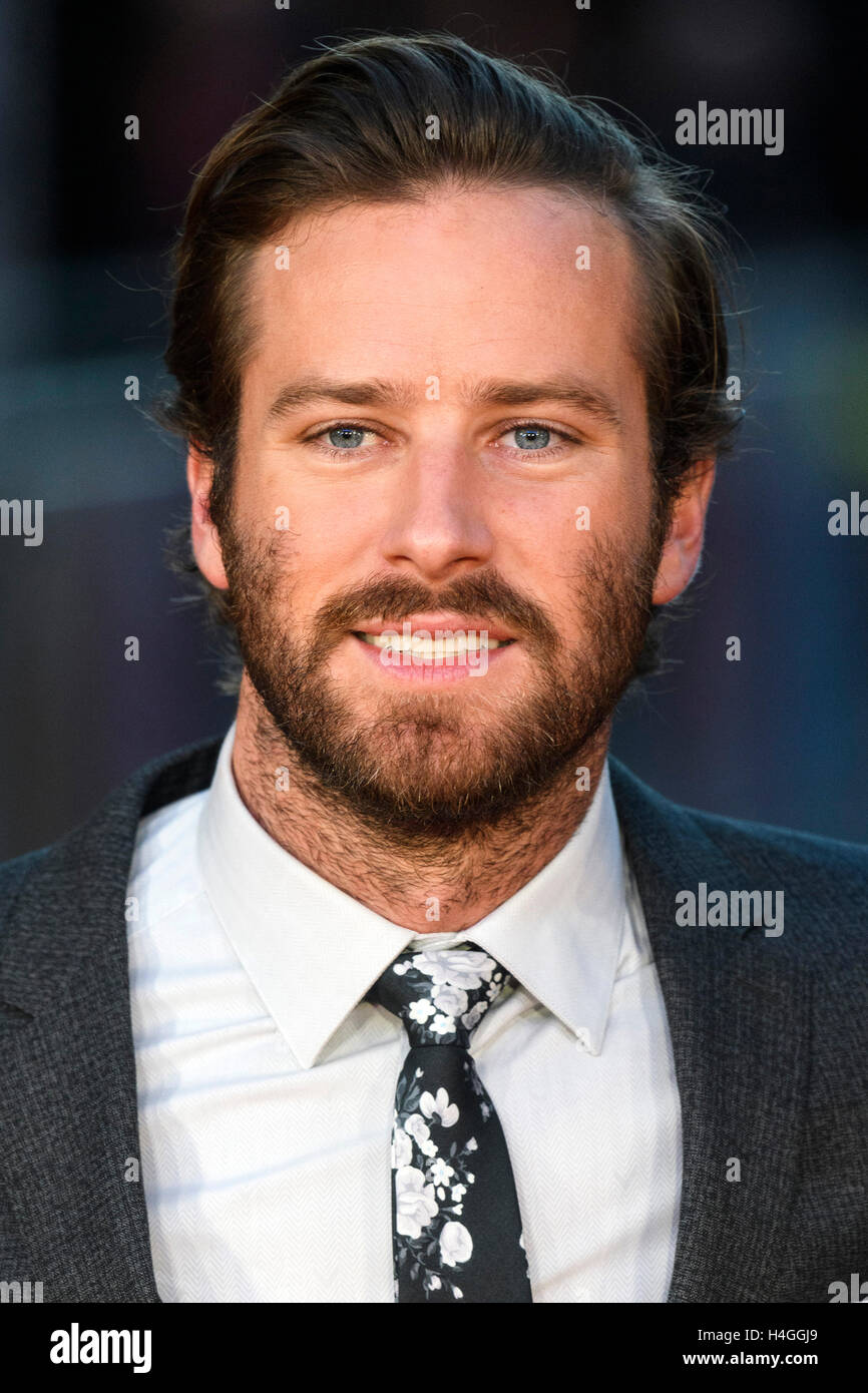London, UK. 16th October, 2016. Armie Hammer attends the film premiere of Free Fire  at the 60th London Film Festival. - Stock Image
