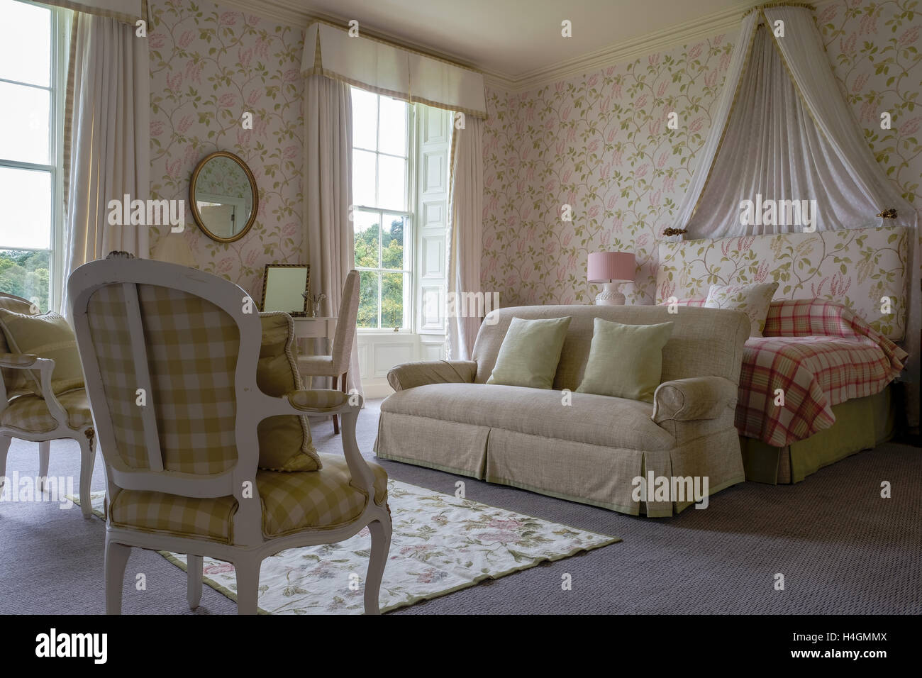 Interior of a master bedroom in an english country manor ...