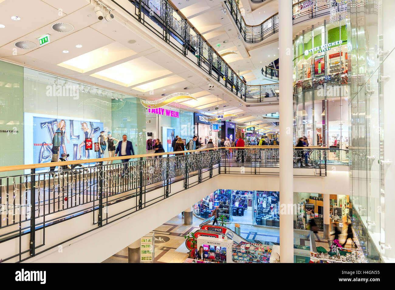 Interior view of Palladium shopping center decorated for Christmas holidays in Prague, Czech Republic. - Stock Image