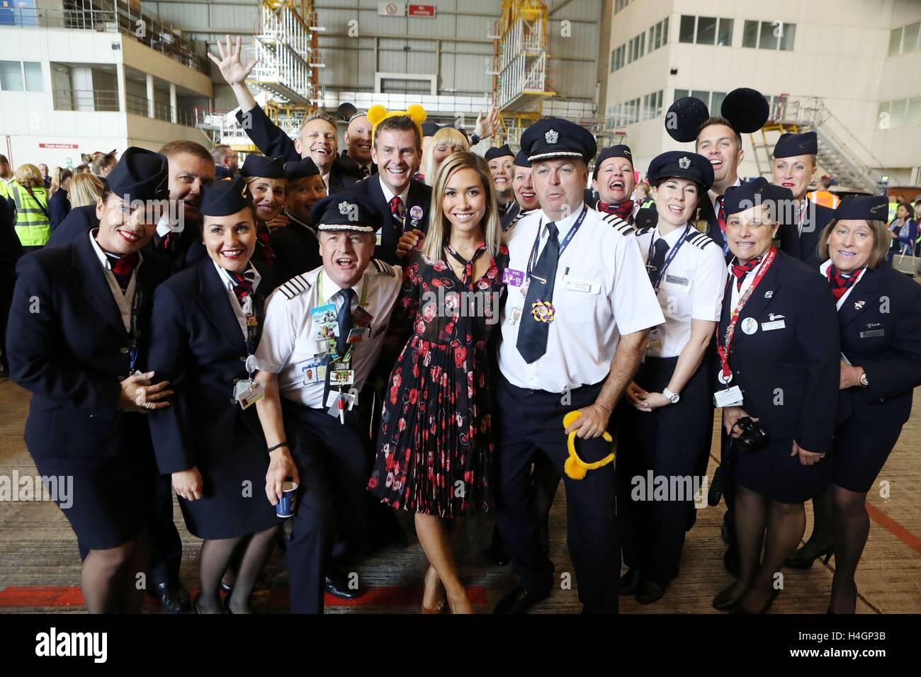 Myleene Klass (centre) with the British Airways pilots and