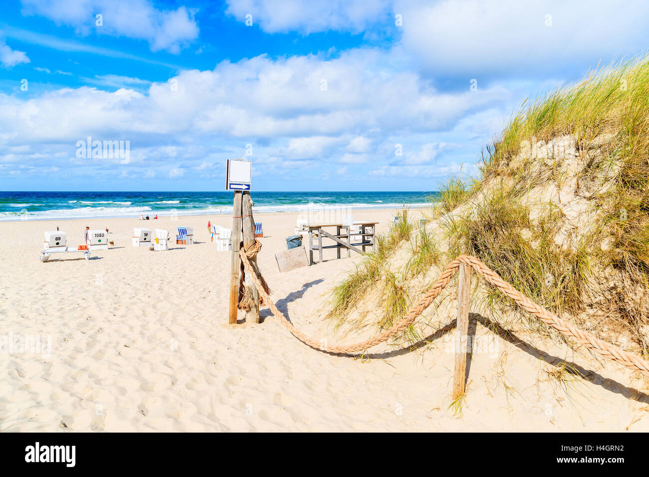 Entrance to sandy beach in Kampen village, Sylt island, Germany Stock Photo