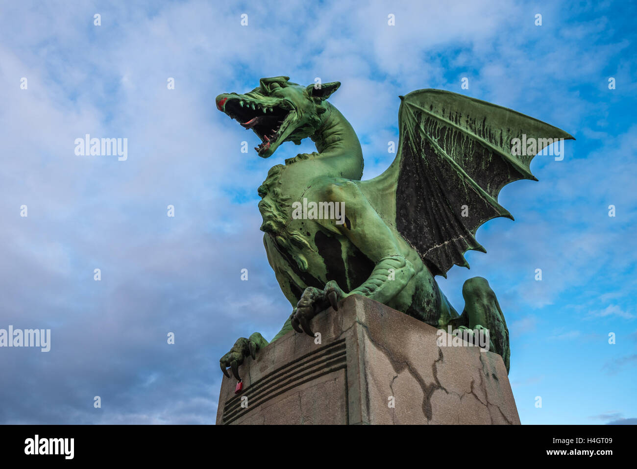 Sculpture of dragon on Dragon bridge in Ljubljana, Slovenia - Stock Image