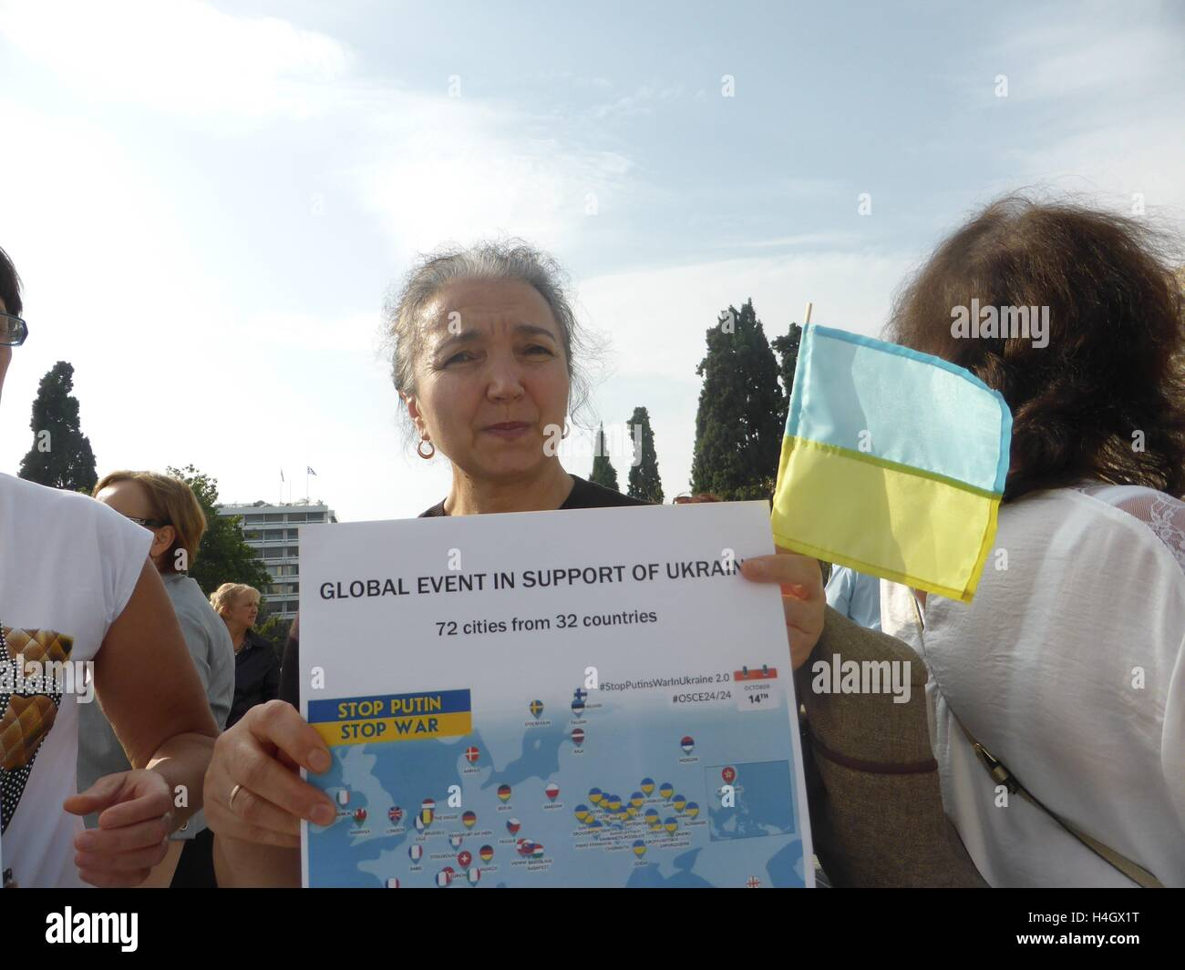 Athens, Greece. 16th Oct, 2016. Ukranian people demonstrate in Athens against Russian President Putin and the war - Stock Image
