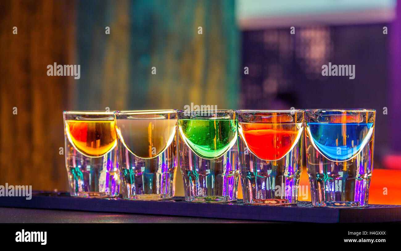 Colorful Shot Drinks In Bar In Night Stock Photo 123303570 Alamy