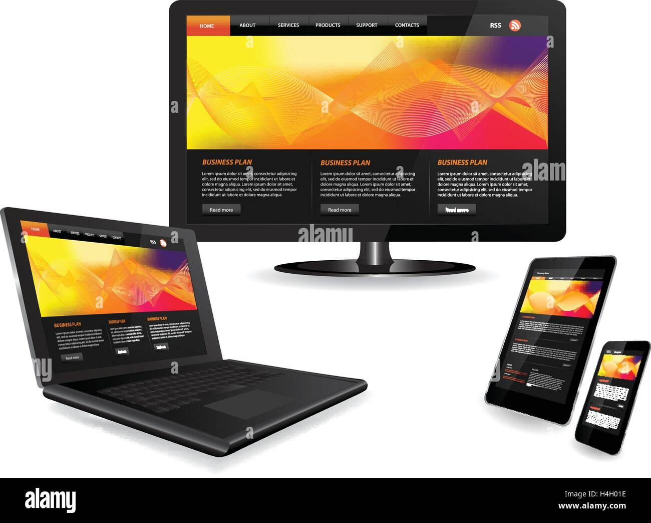 Responsive website template on multiple devices Stock Vector