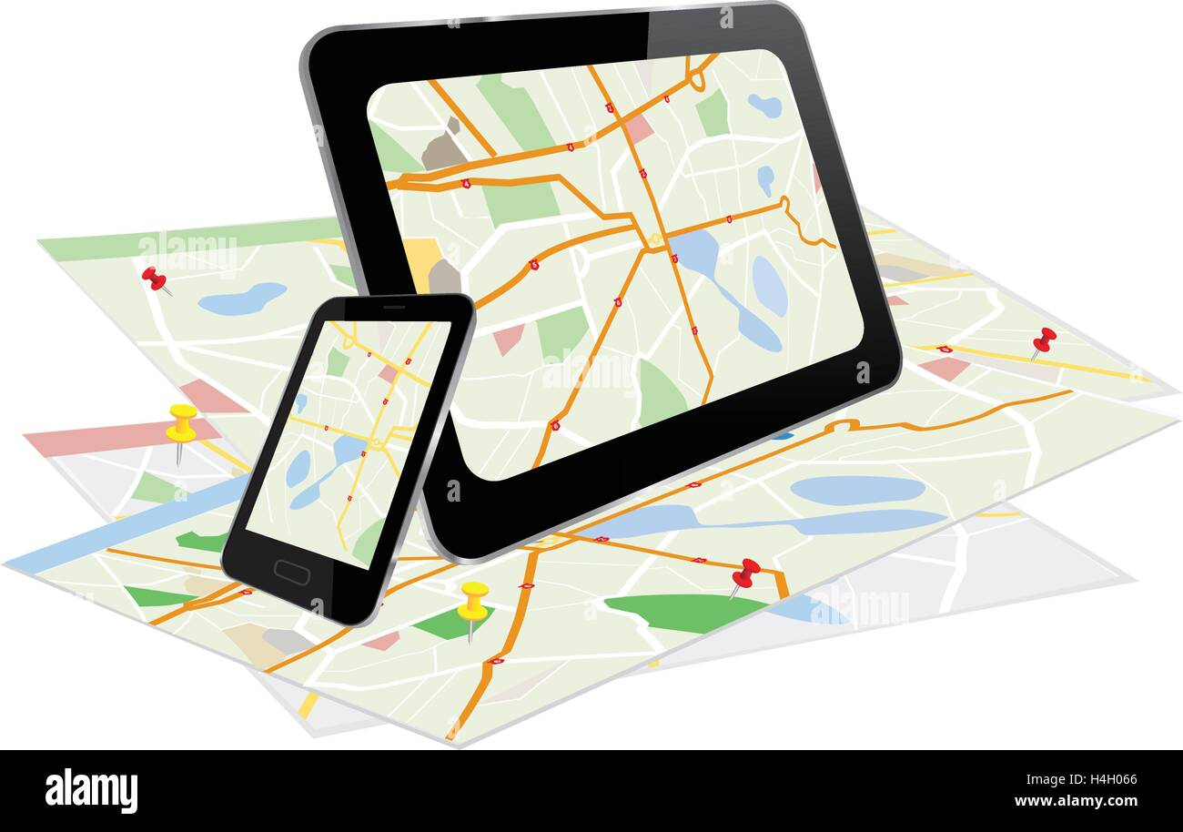 Tablet PC and Smart Phone with navigation system and a paper with maps - Stock Image