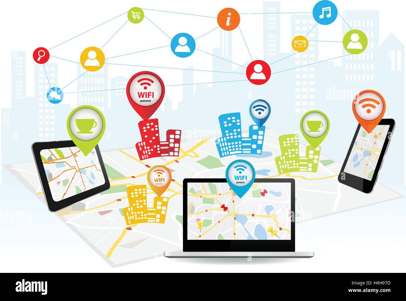 Wireless information transfer across modern gadgets - Stock Image