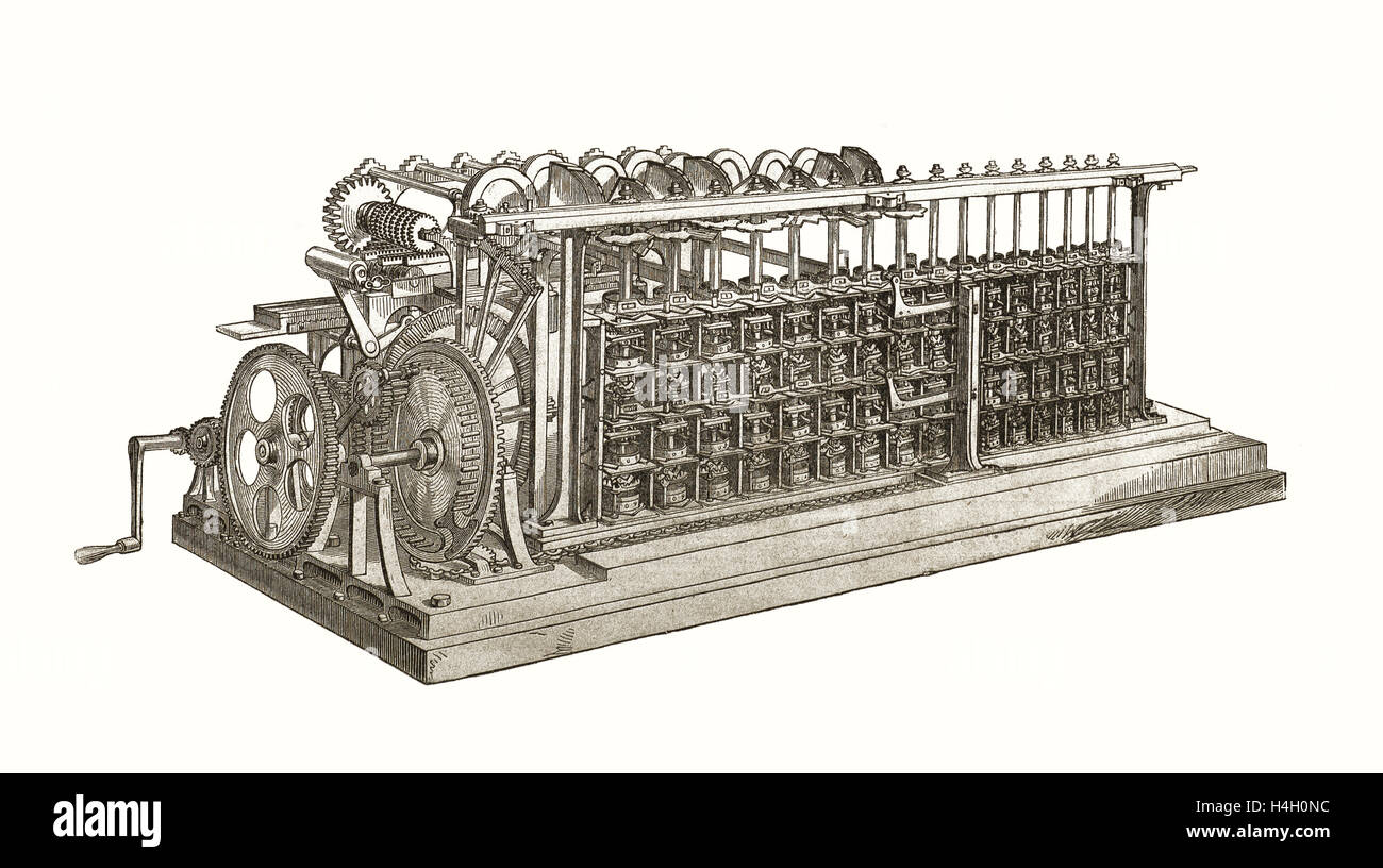 The Difference Engine by Charles Babage, being the first computer, nineteenth century - Stock Image