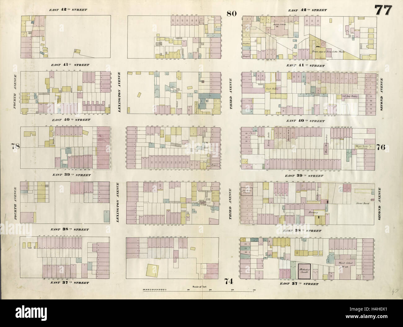 Plate 77: Map bounded by East 42nd Street, Second Avenue, East 37th Street, Fourth Avenue. 1857, 1862, Perris and - Stock Image
