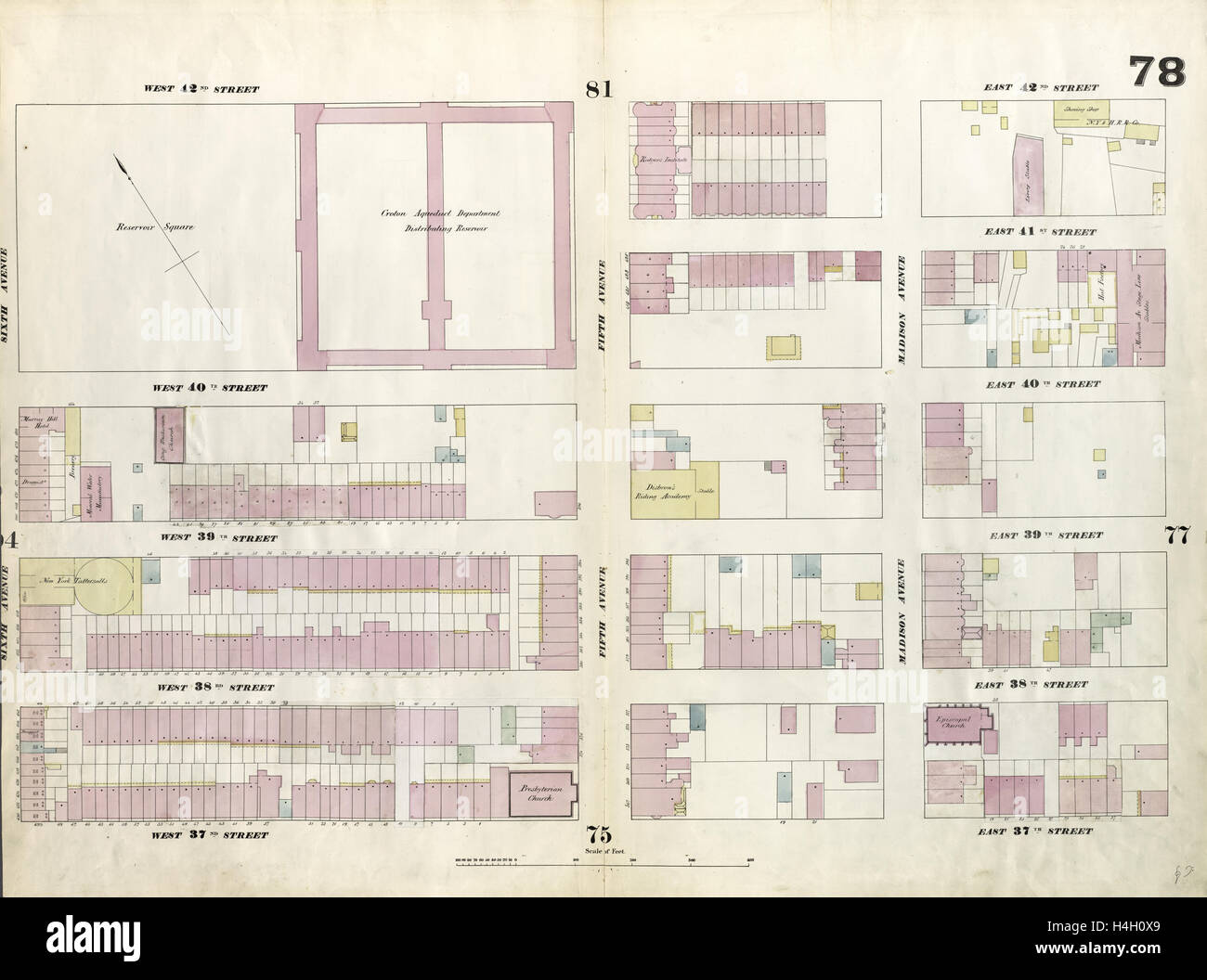 Plate 78: Map bounded by West 42nd Street, East 42nd Street, Fourth Avenue, East 37th Street, West 37th Street, - Stock Image