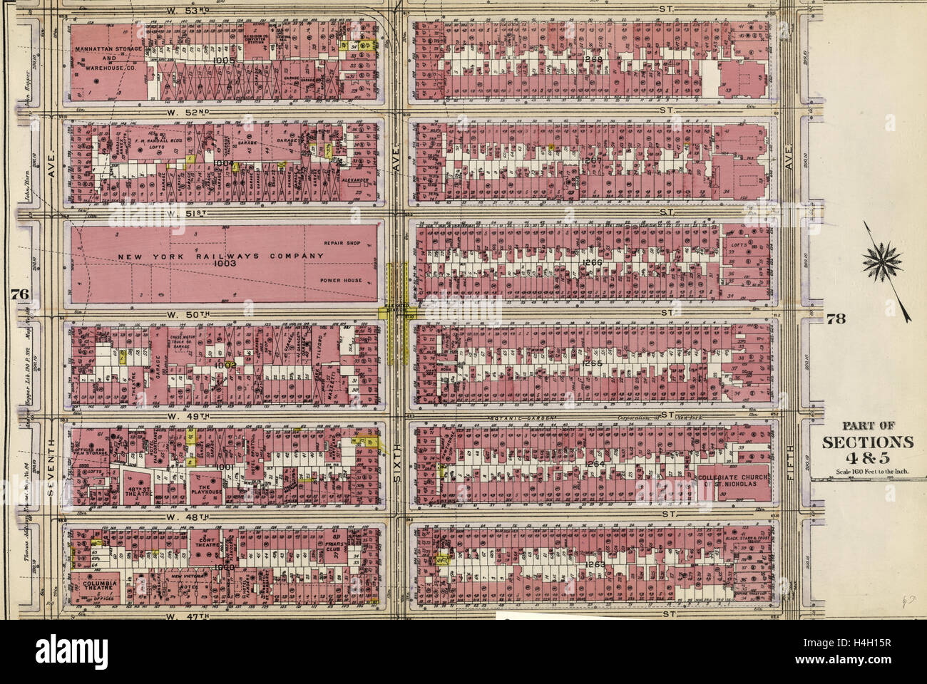 Plate 77: Bounded by W. 53rd Street, Fifth Avenue, W. 47th Street, and Seventh Avenue, New York, USA - Stock Image
