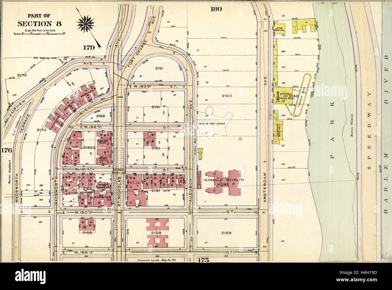 Plate 177: Bounded by Fairview Avenue, Isabella Heimath Home, Amsterdam Avenue Harlem River,W. 189th Street, W. - Stock Image