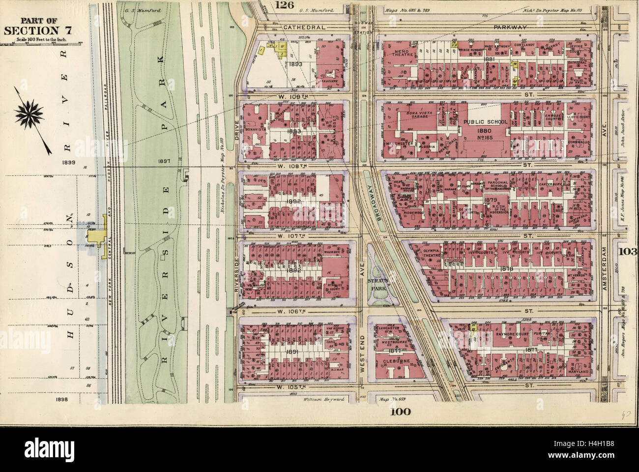 plate 102 bounded by cathedral parkway amsterdam avenue w 105th street and riverside park riverside drive new york usa