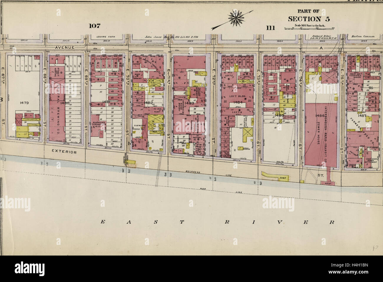 Part of Section 5: Plate 109, New York, USA - Stock Image