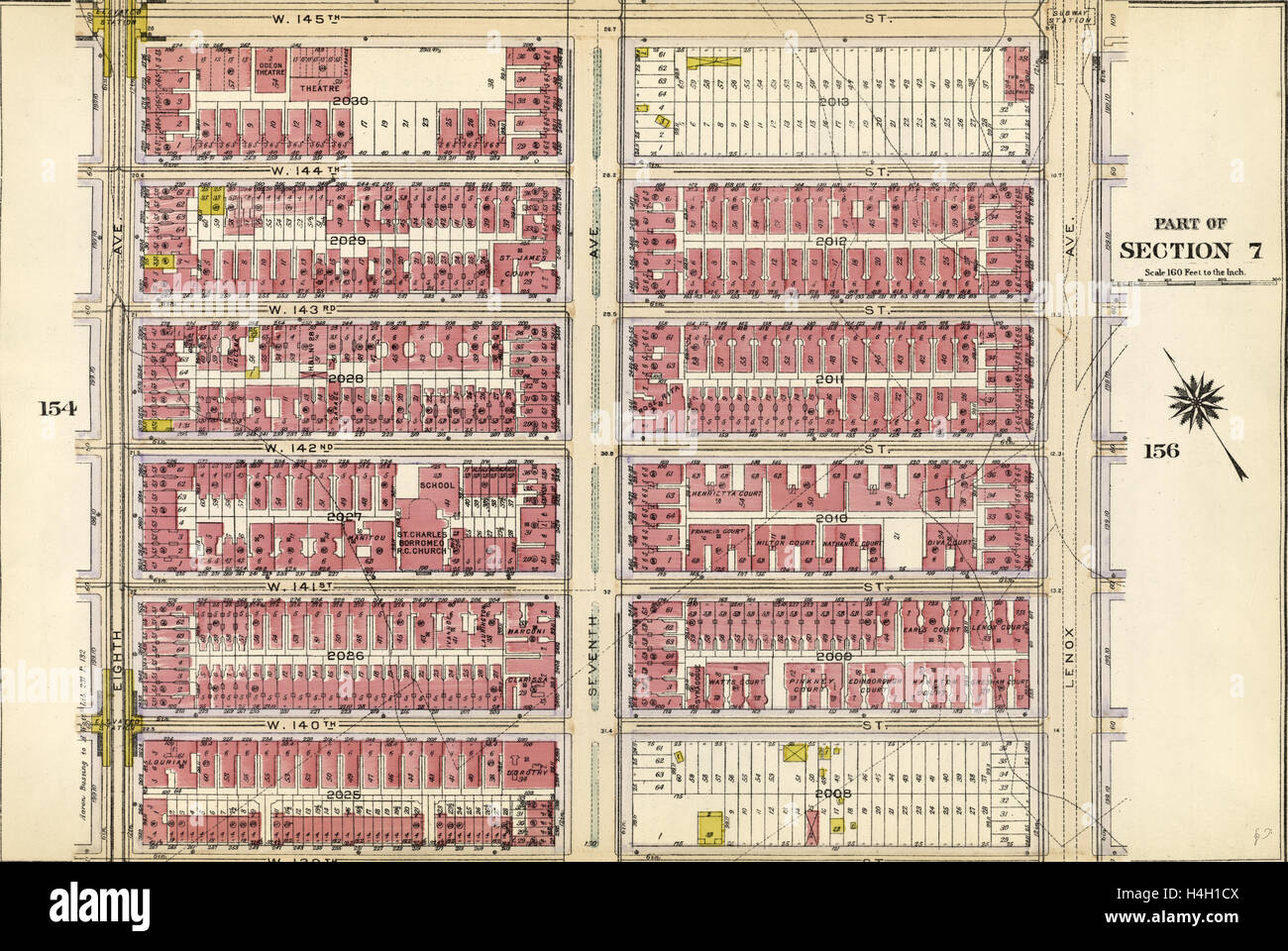 Plate 155: Bounded by W. 145th Street, Lenox Avenue, W. 139th Street and Eighth Avenue, New York, USA - Stock Image