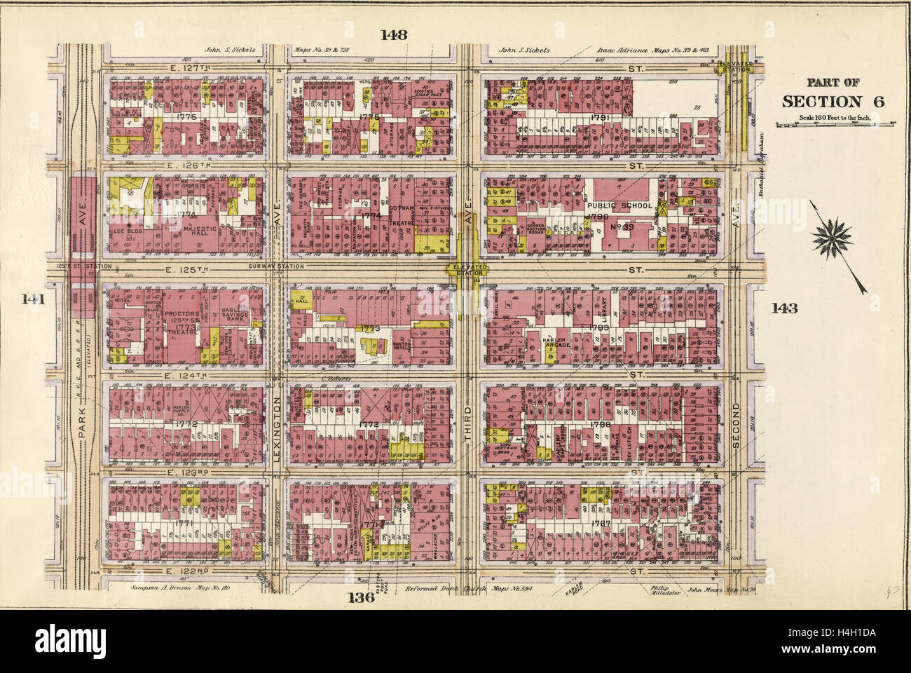 Plate 142: Bounded by E. 127th Street, Second Avenue, E. 122nd Street and Park Avenue, New York, USA - Stock Image