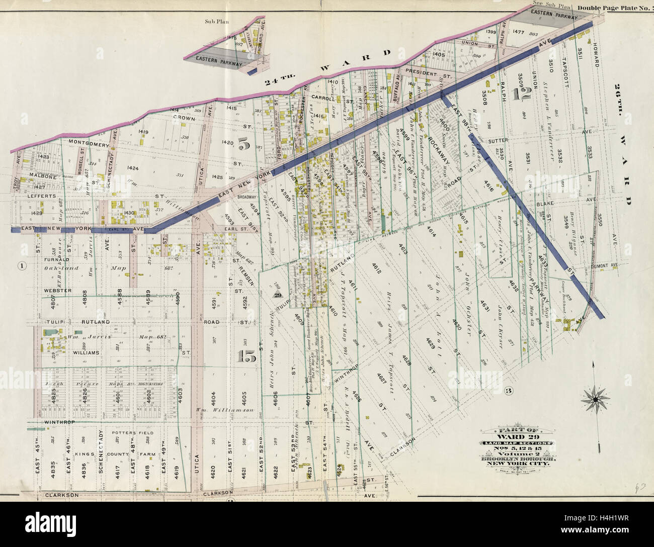 Part of Ward 29. Land Map Sections, Nos. 5, 12, & 15. Volume 2, Brooklyn Borough, New York City. - Stock Image