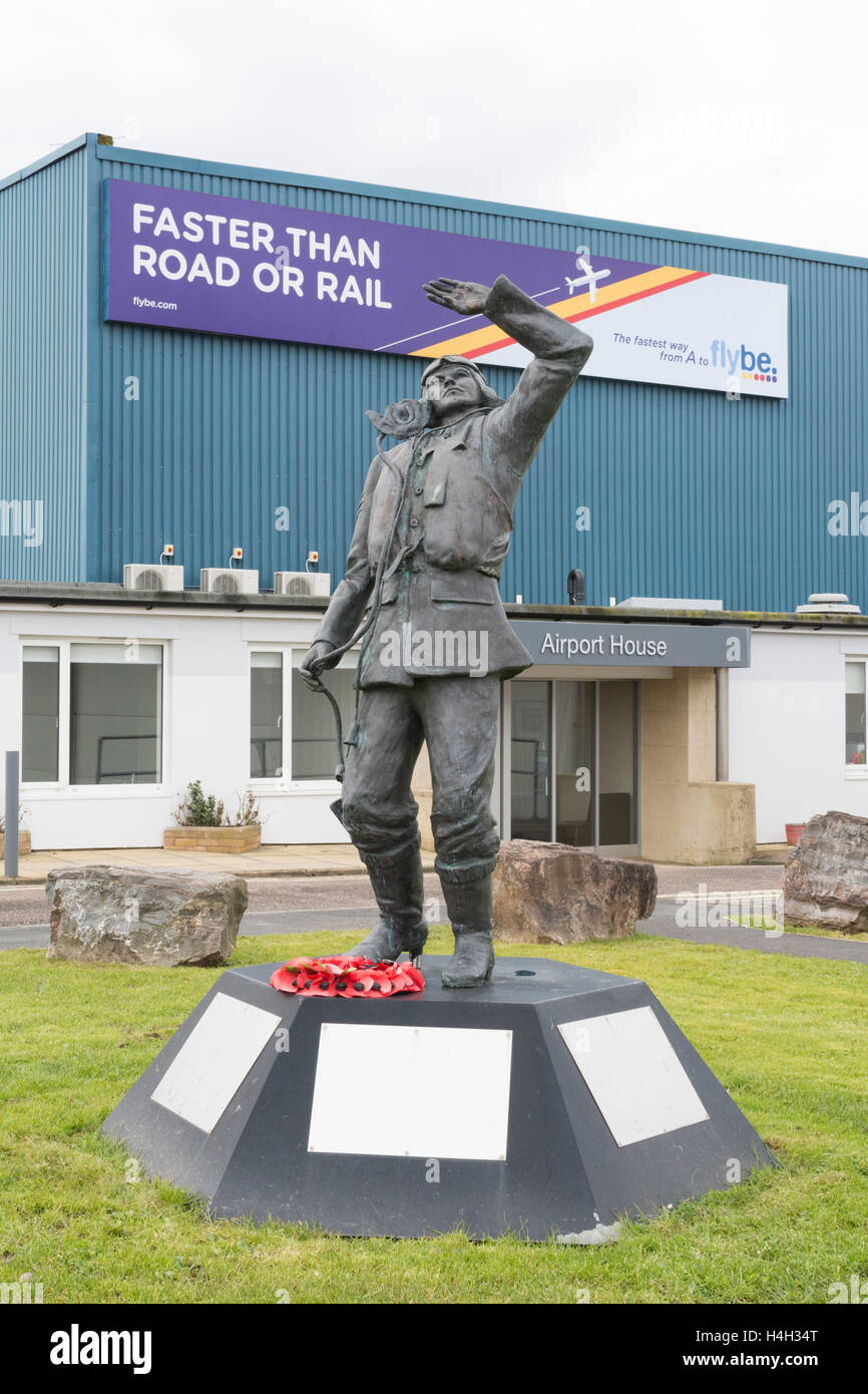 Battle of Britain hurricane fighter pilot statue outside Airport House office space and hanger 3 at Exeter airport - Stock Image