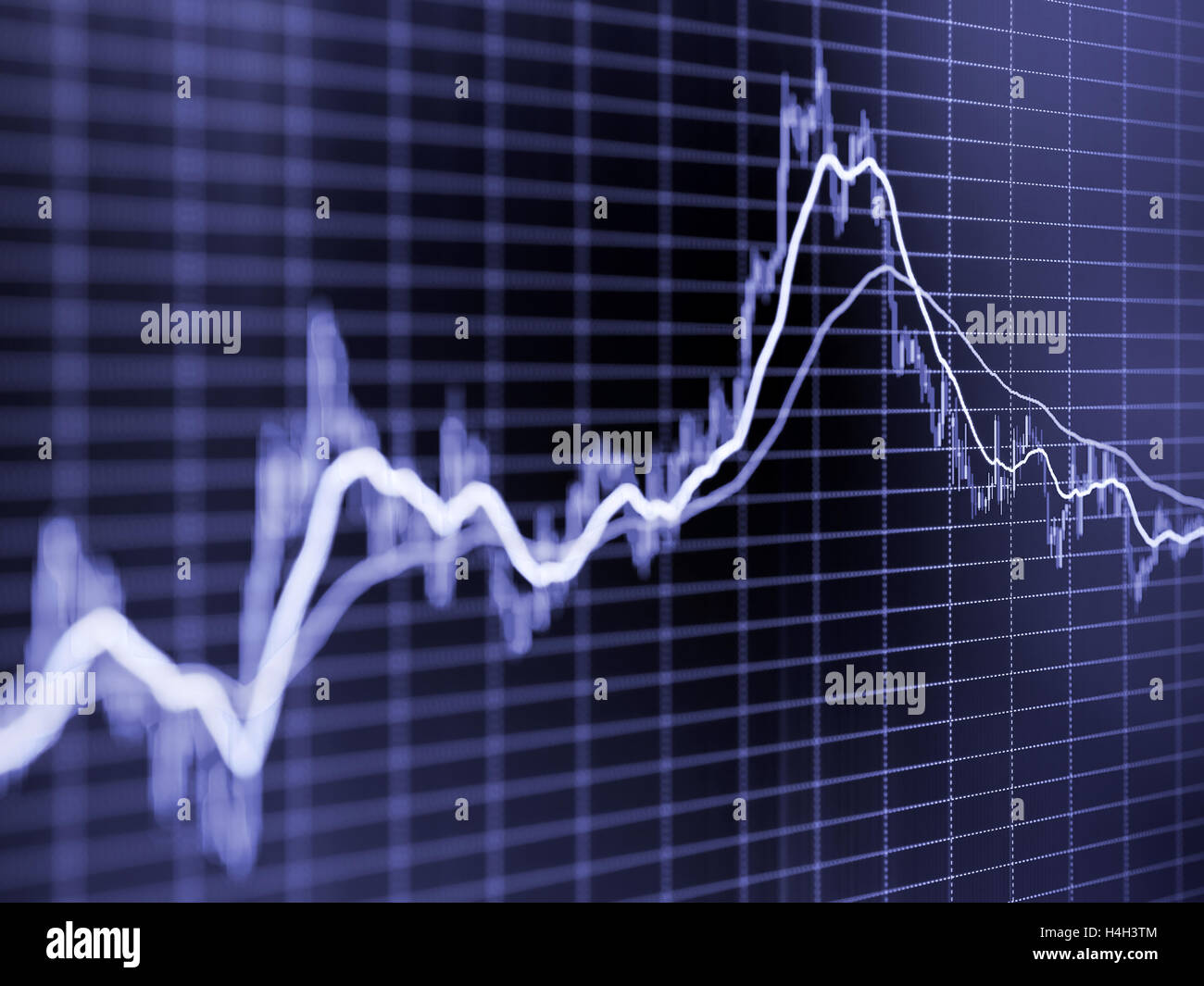 Stock market graph. Toned blurred image with diminishing perspective and selective focus - Stock Image
