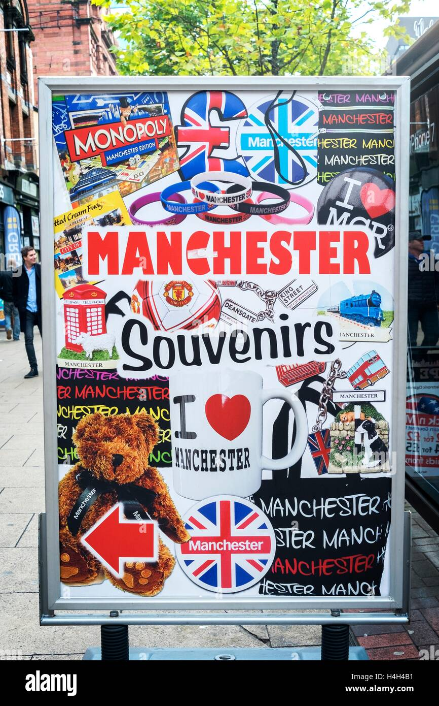 Manchester Souvenirs sign and shop, Manchester, UK - Stock Image