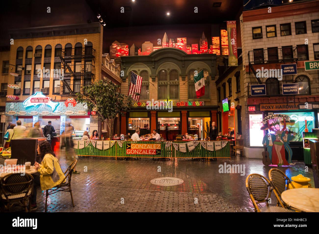 New York New York Street And Italian Restaurant In Las Vegas
