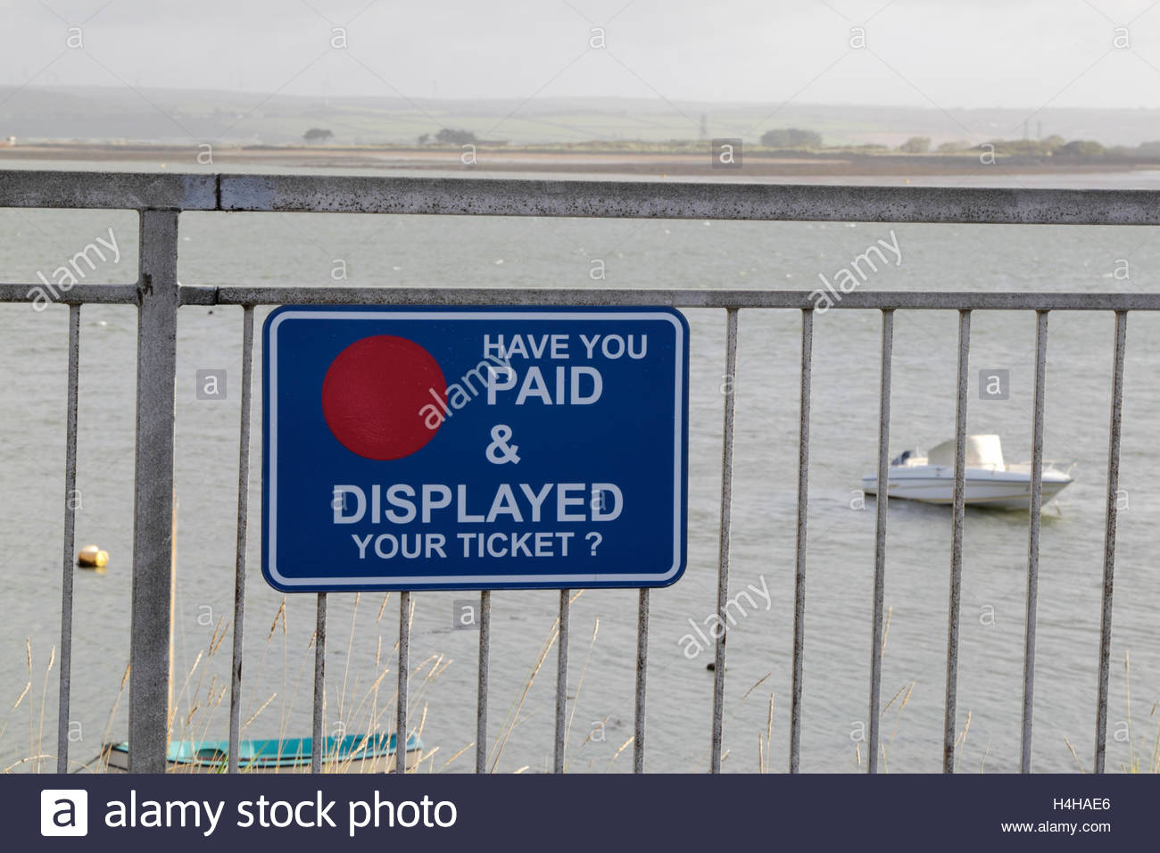 Have You Paid and Displayed Car Park Sign, Appledore, Devon, England. - Stock Image