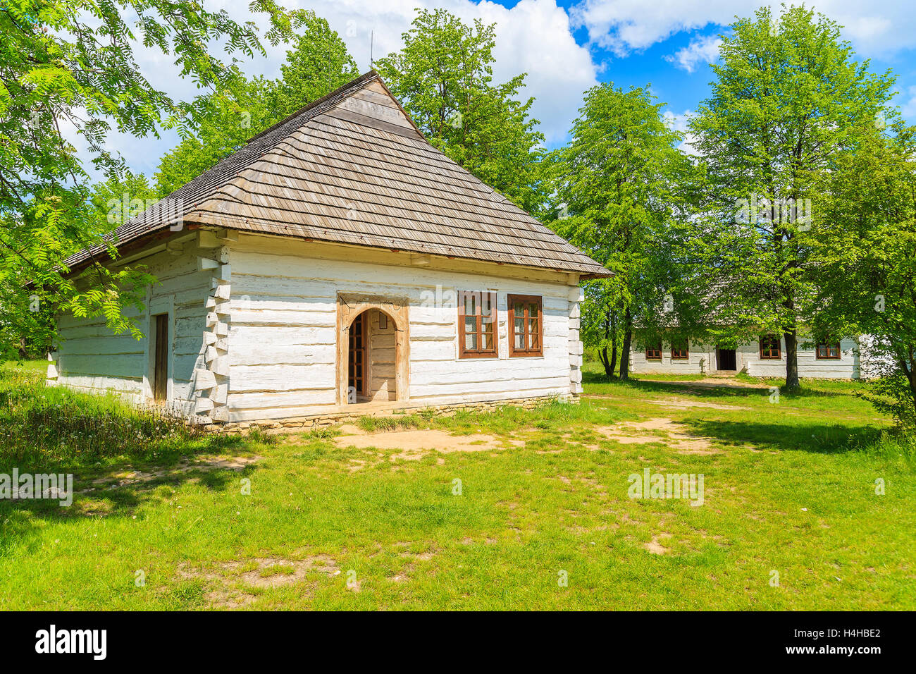 tokarnia village poland may 12 2016 an old rustic cottage house on