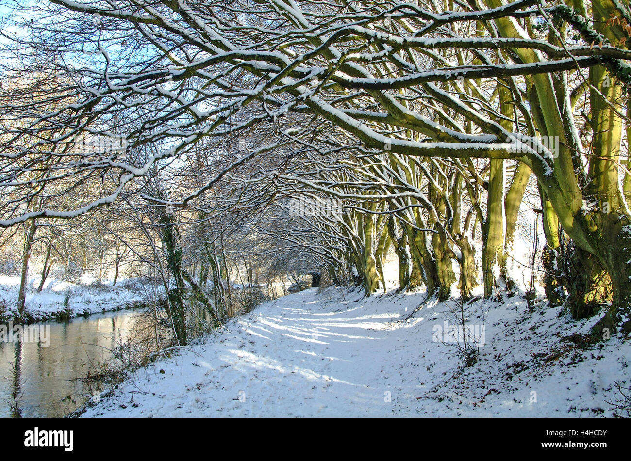 Snow covered path along River Itchen Navigation Heritage Trail, Eastleigh, Hampshire, England. - Stock Image