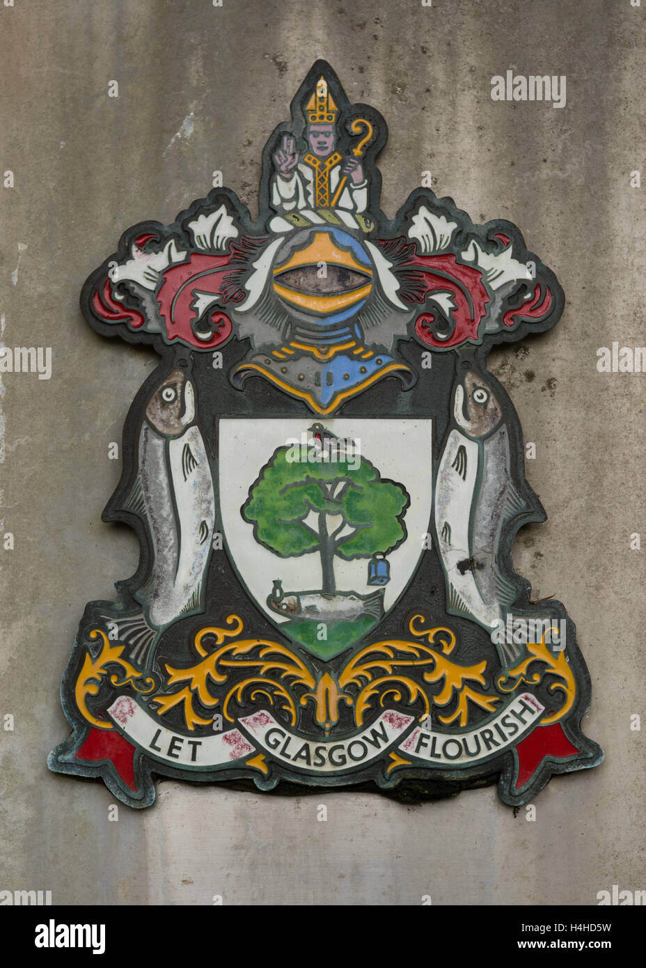 Glasgow Coat of Arms and city motto - 'Let Glasgow flourish' - from Glen Finglas Reservior sign, Trossachs, - Stock Image