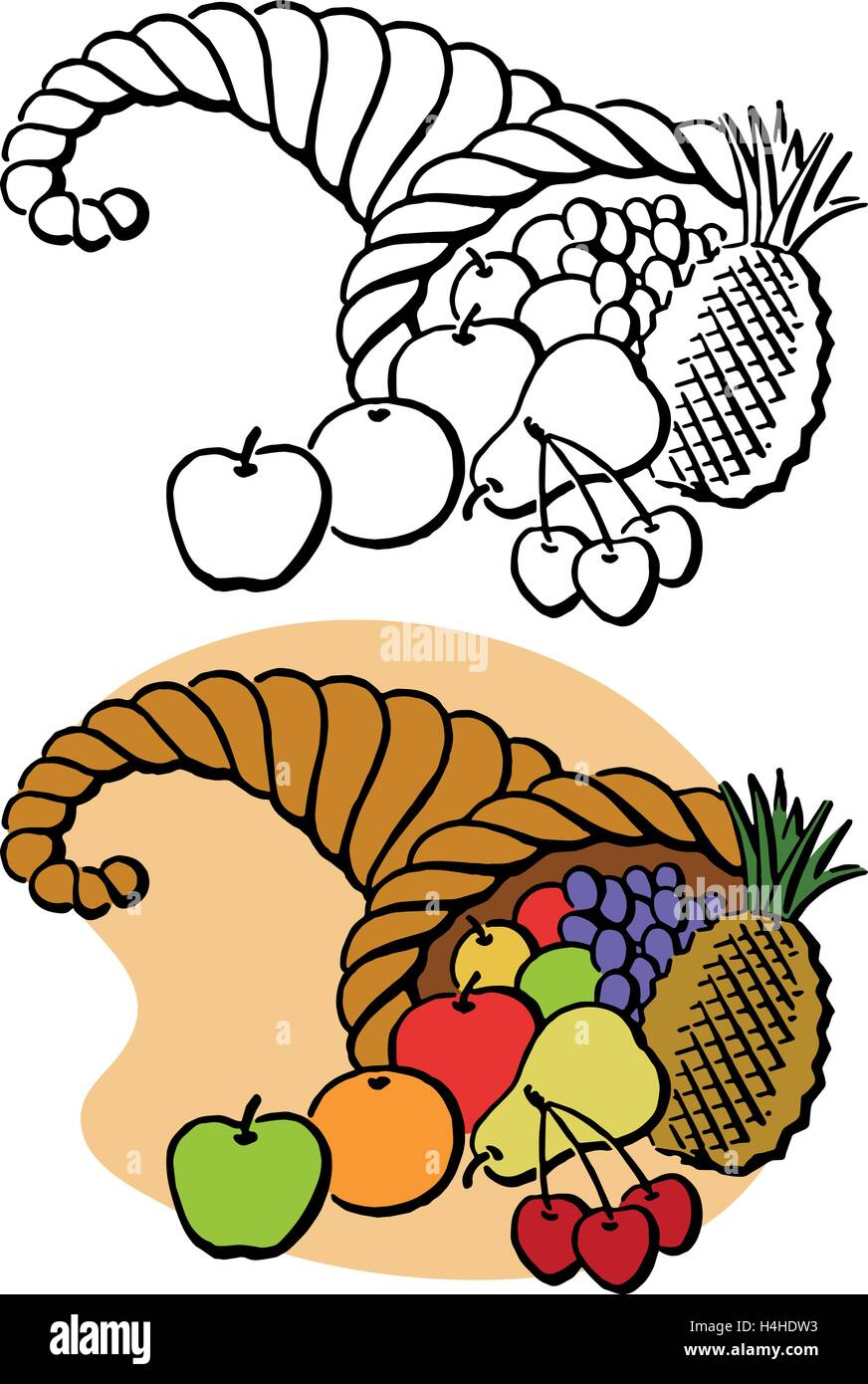 A Thanksgiving cornucopia filled with a harvest of fruit - Stock Image