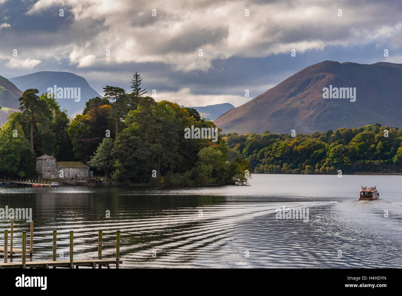 Derwentwater at Keswick with pleasure launch. - Stock Image