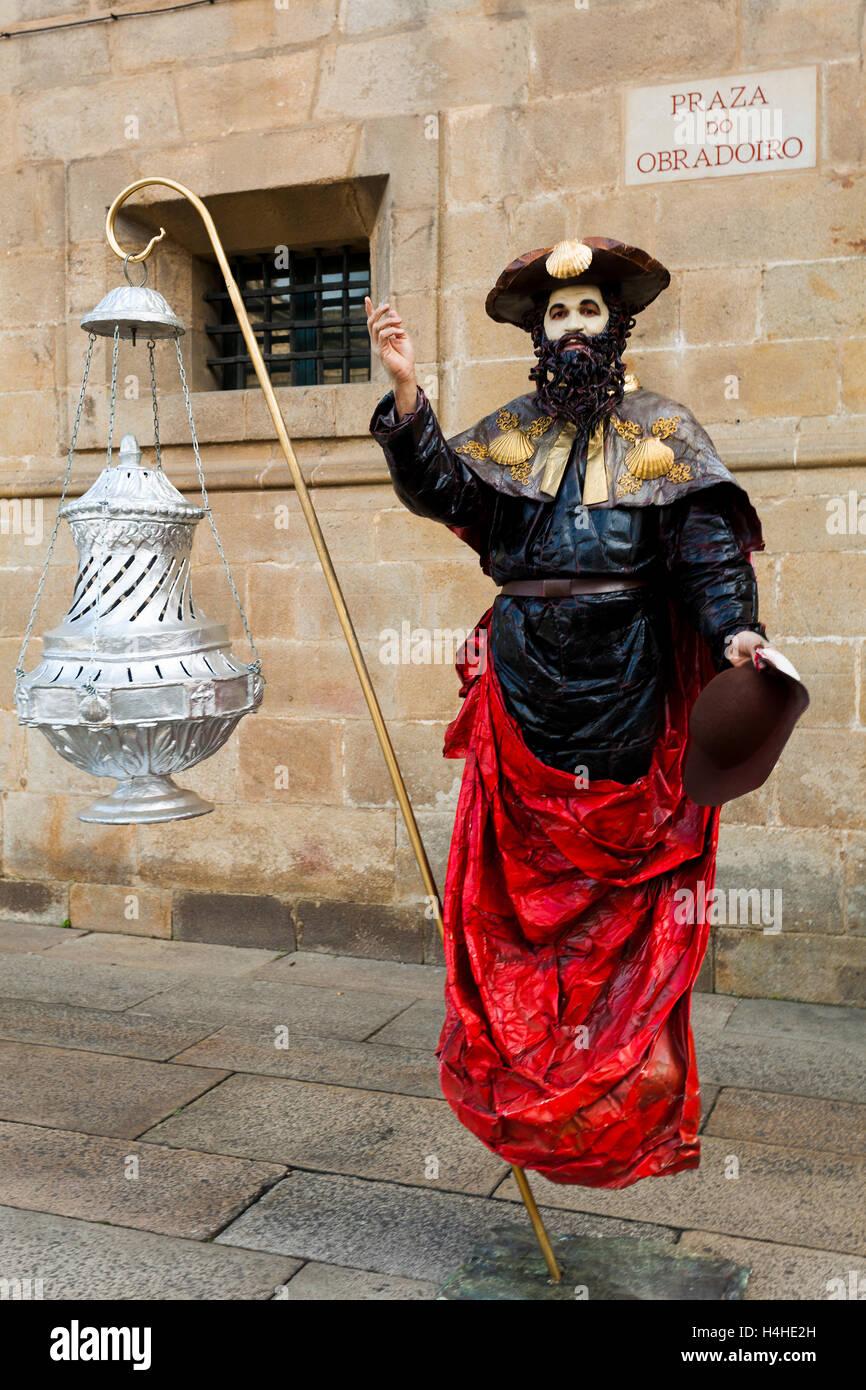 Mime in the Obradoiro square, Santiago de Compostela, La Coruna province, Galicia, Spain Stock Photo