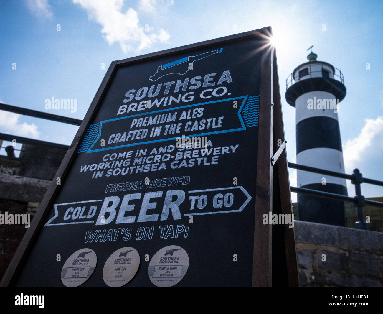 Southsea Brewing Company is an artisan brewery located in an old ammunition storage room within the walls of a coastal - Stock Image