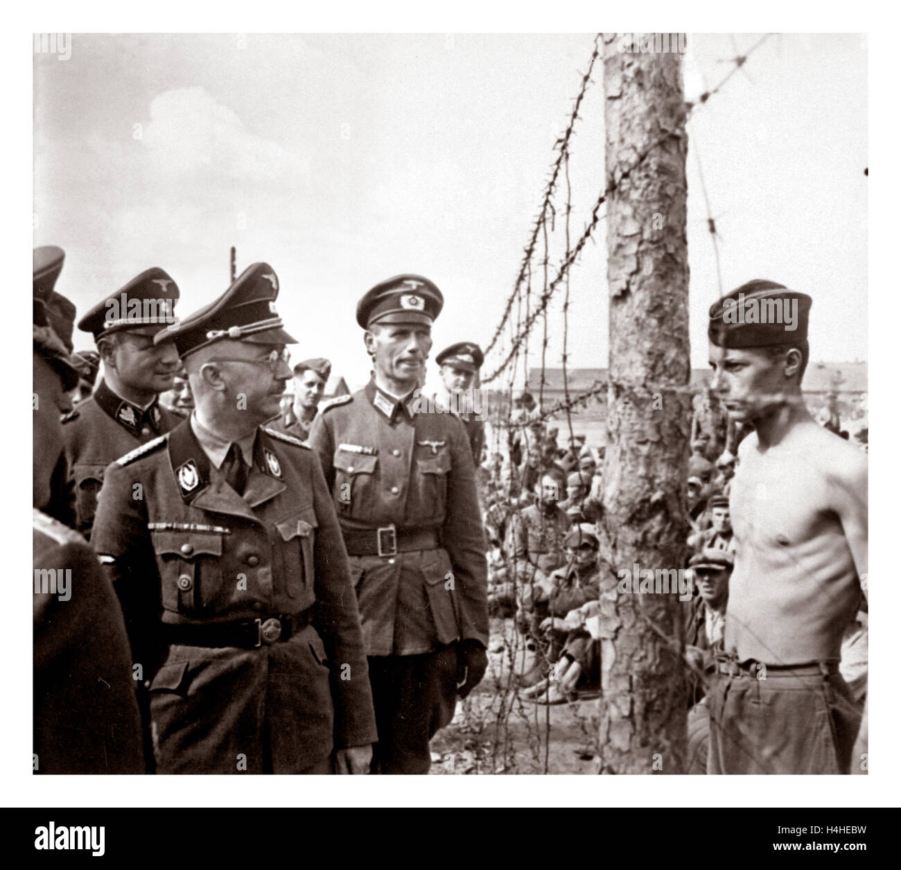 German Nazi Leader Heinrich Himmler In Uniform Inspects A