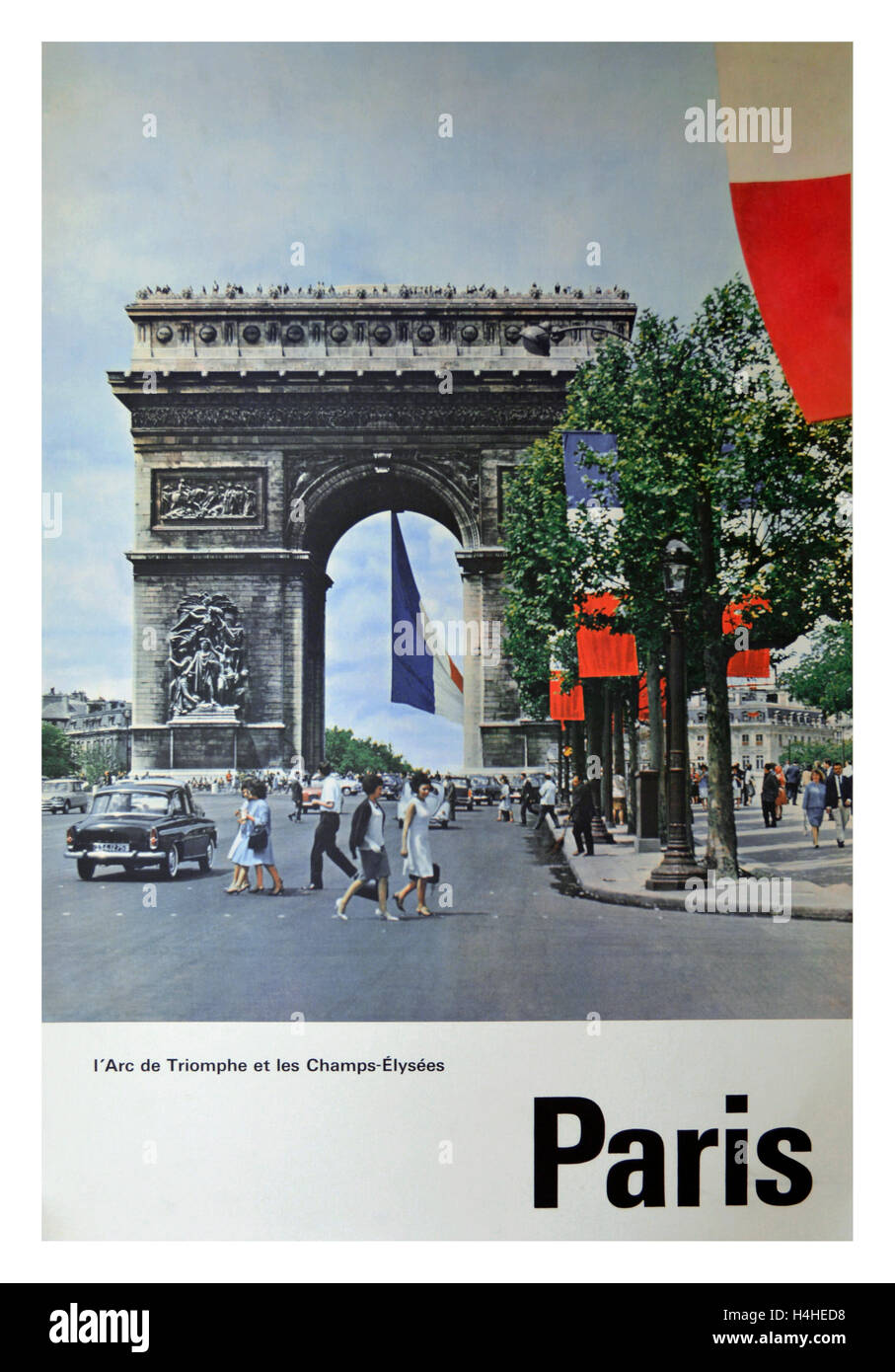 Vintage retro travel poster of Paris featuring Arc de Triomphe and Champs Elysee  France - Stock Image