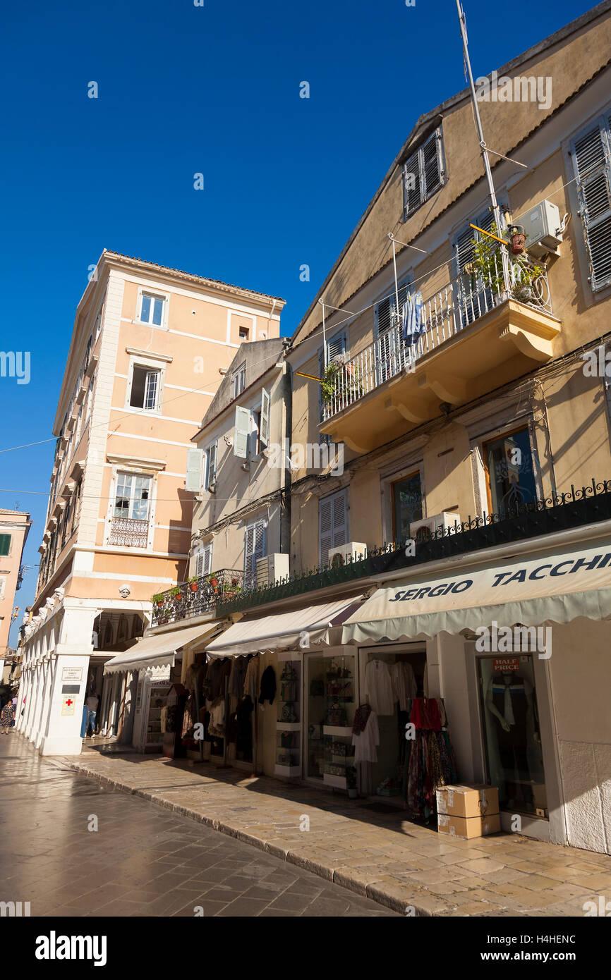 Architecture in the Old Town of Corfu, Corfu, Greek Ionian Islands, Greece - Stock Image