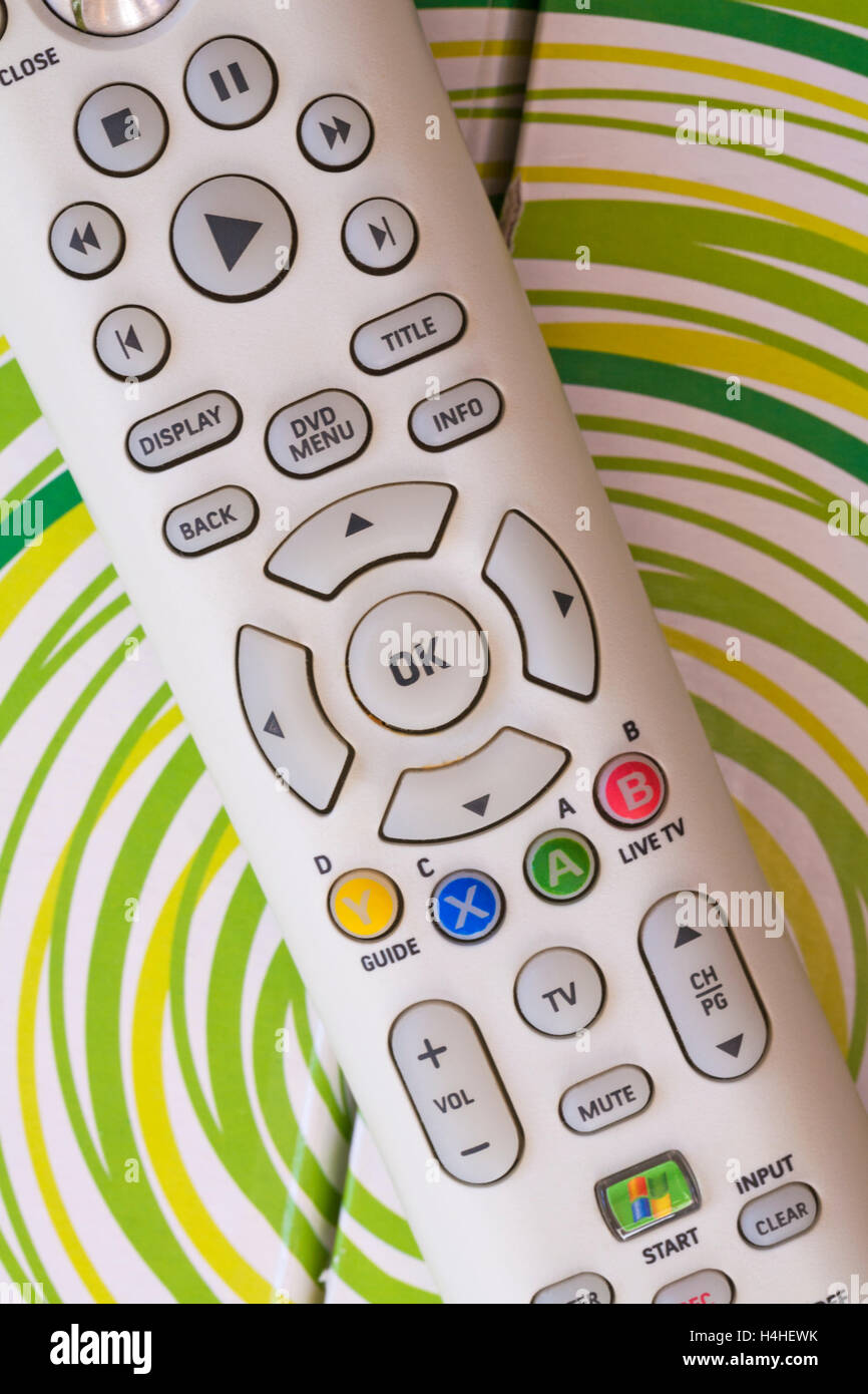 Xbox 360 HD DVD player remote control on box Stock Photo: 123316079