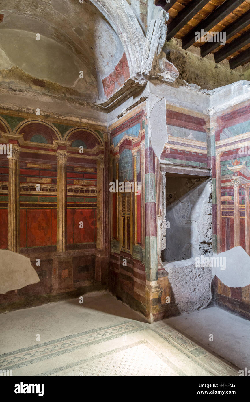 Frescos at the Villa of the Mysteries, Pompeii, Italy - Stock Image