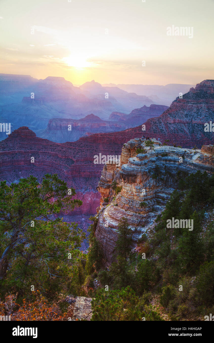 Grand Canyon National Park overview at sunset - Stock Image