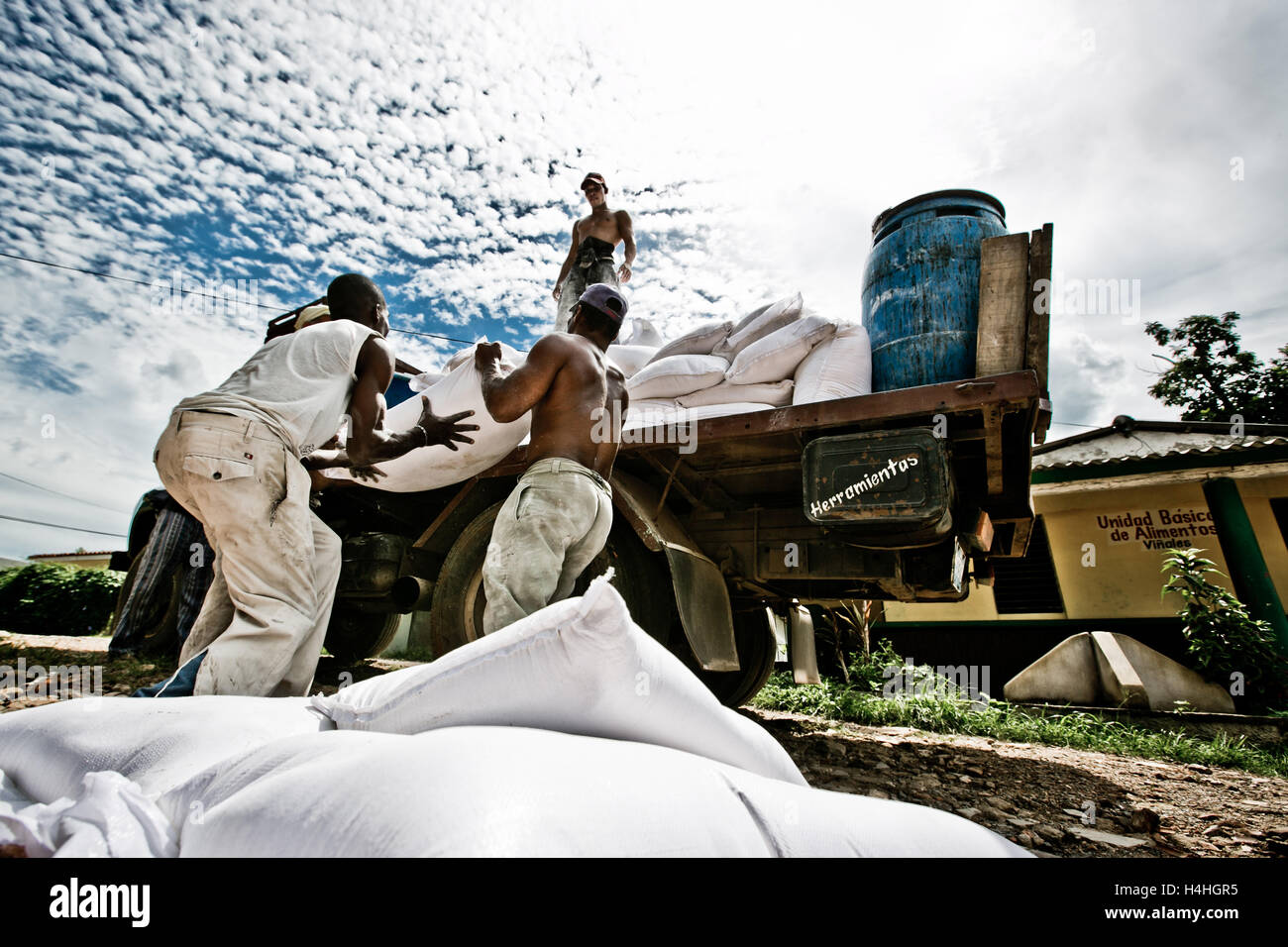 Cubans haulage worker on the truck, Cuba Life - Stock Image