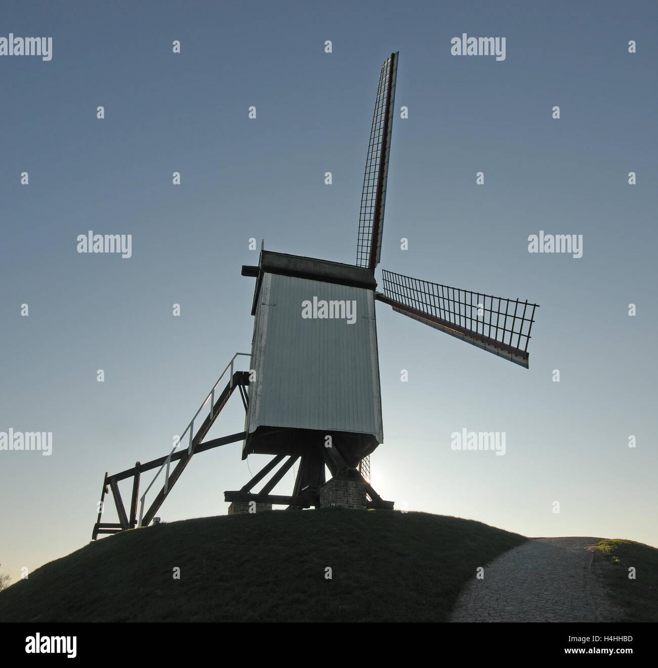 Old Flemish windmill in Brugge, Belgium. - Stock Image