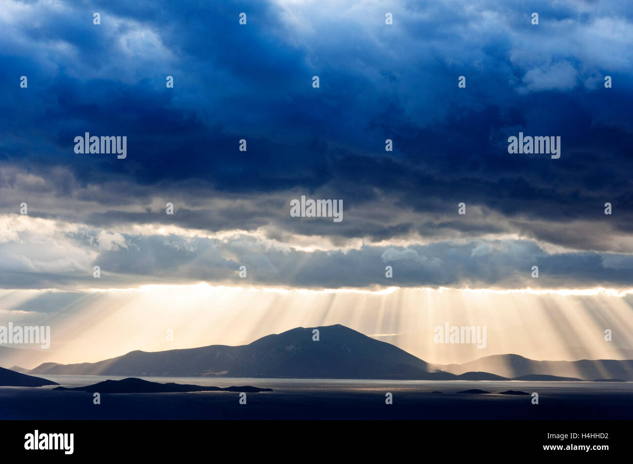 Dramatic sky above the Pagasitic Gulf and the mainland of Central Greece - Stock Image