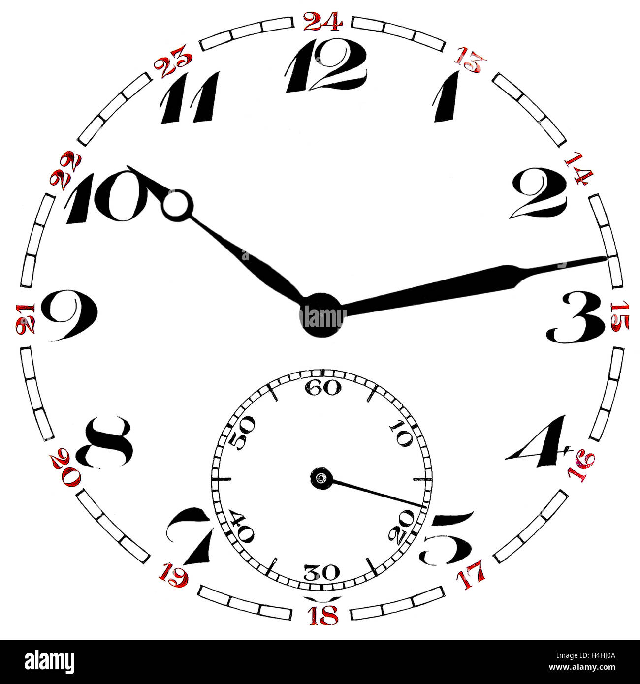 Pocket watch clock face numbers and indicators isolated on white background - Stock Image