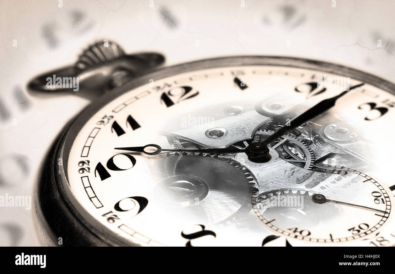 Old Swiss Pocket Watch Montage With Transparent Clock Face And Vintage Background