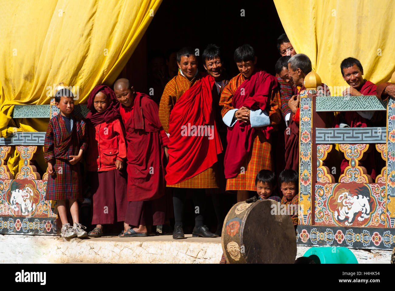 Audience at Black-necked Crane Festival, Gangte Monastery, Phobjikha Valley, Bhutan - Stock Image