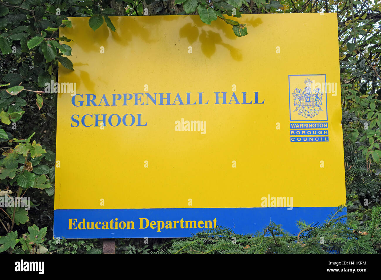 Grappenhall Hall School sign, Warrington, Cheshire, England, UK - Stock Image