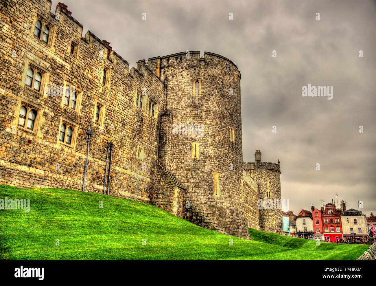Walls of Windsor Castle near London, England - Stock Image