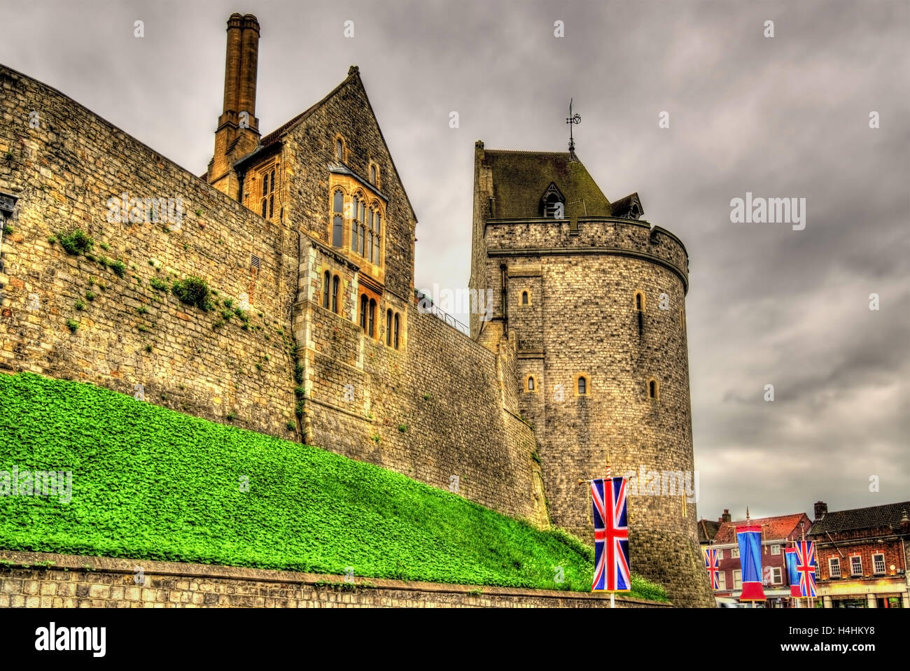 Towers of Windsor Castle near London, England - Stock Image