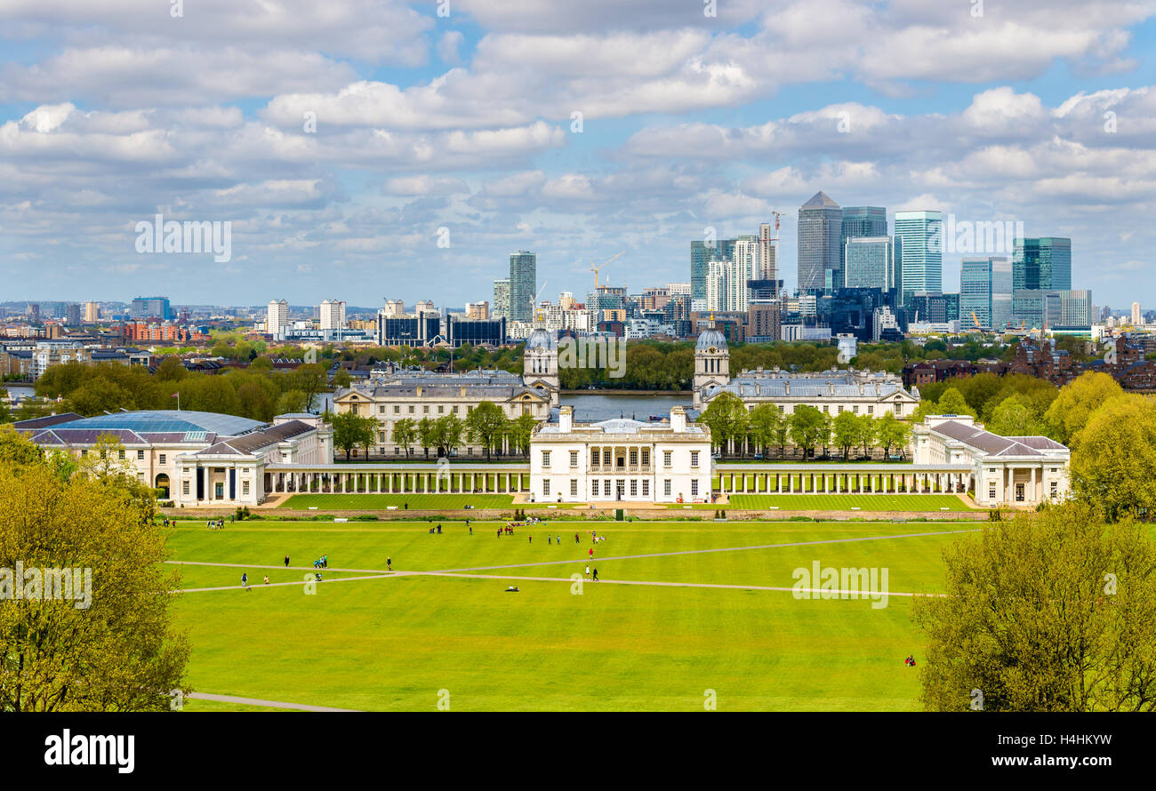 View of the National Maritime Museum and Canary Wharf - London, - Stock Image